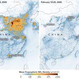 NASA images show China pollution clears as coronavirus shuts factories - Axios