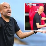 'Who's his imaginary friend?' Footage of Guardiola 'talking to empty chair' goes viral as Man City suffer FA Cup defeat to Arsenal