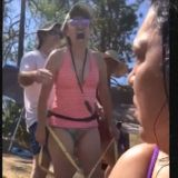 Angry Woman has Measuring Tape Meltdown at the Beach