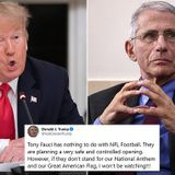 Trump slams Fauci for cautioning NFL on COVID, won't watch protestors