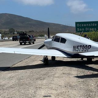 A small plane having mechanical issues safely lands on a California freeway