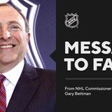 NHL Commissioner Bettman wishes fans happy Re-Opening Day