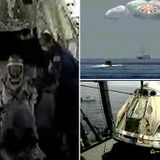 NASA astronauts emerge from SpaceX capsule after returning to Earth