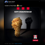 KFC gets deep-fried after posting 'black power' chicken drumstick to commemorate Trinidad's Emancipation Day