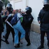 Woman injured by police at unauthorized rally in Moscow taken to hospital