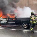 Truck Pulling Trailer Full Of Monkeys Catches Fire On I-287