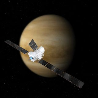 A spacecraft is about to slingshot around Venus, putting it on course for Mercury