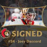 Ottawa Senators sign goaltender Joey Daccord to a three-year contract