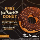 Tim Hortons offering free doughnuts to anyone who visits in costume on Halloween