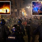 Coronavirus protesters clash with riot police in Barcelona after bars close