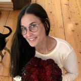 Demi Moore Poses with Floral Vagina Sculpture for Reproductive Rights