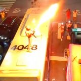 Wild video shows man blast flamethrower from atop MTA bus in Brooklyn