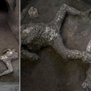Remains of wealthy man and his slave unearthed from ashes in Pompeii