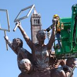 Berkeley has started removing the Big People statues on the I-80 pedestrian bridge