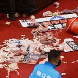Taiwanese lawmakers throw pig guts, punches at each other on parliament floor • The Pigeon Express