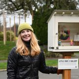 It's like a Little Free Library, but there's art inside. People are flocking to it, tiny art in hand.
