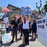 100 gather in Huntington Beach to protest stay-at-home orders