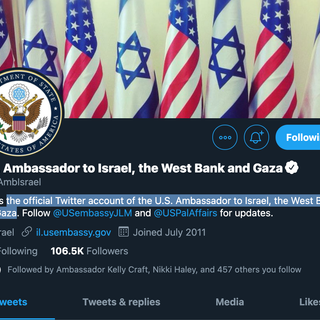 U.S. Ambassador to Israel Twitter Account Name Changed to Include West Bank and Gaza