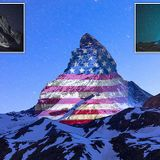 US and UK flags project on Swiss Matterhorn for Covid-19 solidarity