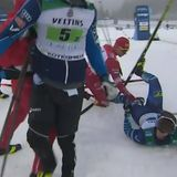 Russia cross-country skier DQed after whipping Finn with ski pole, tackling