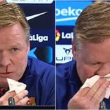 Fans concerned for Barca boss Koeman after second NOSEBLEED prompts premature end to presser – before cause is clarified