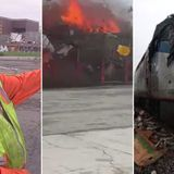EXCLUSIVE: Video shows truck hit at full speed by train in Oakland, bursting into flames