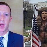 There's a 7-Foot Cutout of Mark Zuckerberg Dressed as the QAnon Shaman in Front of Congress