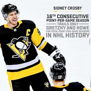 Crosby Clinches 16th Point-Per-Game Season; Trails Only Gretzky and Howe