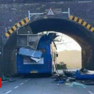 Haywards Heath: Woman hurt as diverted bus crashes into bridge