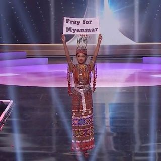"""At Miss Universe pageant, Myanmar's contestant pleads """"our people are dying"""""""
