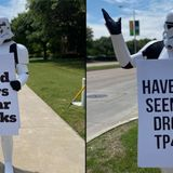 Stormtrooper Patrols Richardson Neighborhood With Coronavirus-Related Messages