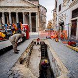 Sinkhole opens near the Pantheon, revealing 2,000-year-old Roman paving stones