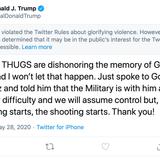 Twitter: Trump's Minnesota tweet violated rules on violence