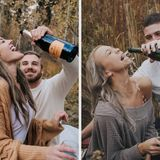 Champagne Engagement Photo Fail Goes Viral