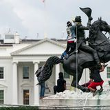 SEE IT: Protesters try to tear down Andrew Jackson statue near the White House