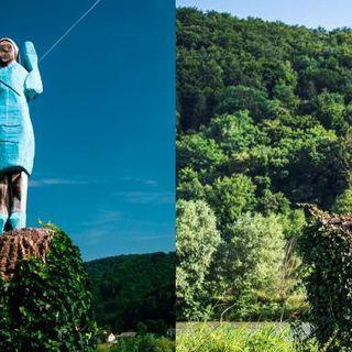 Wooden statue of Melania Trump burned in her native Slovenia - National   Globalnews.ca